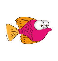 color silhouette of small fish with big eyes vector image