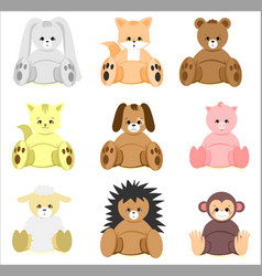 Colorful baby shower animal toys set vector