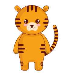 Cute and tender tiger character vector