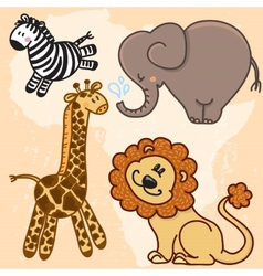 Cute cartoon baby african animals set vector