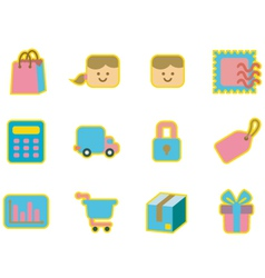 cute icon shopping vector image vector image