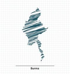 Doodle sketch of Burma map vector image vector image