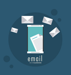 Envelope document smartphone email icon vector