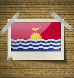 Flags Kiribati at frame on a brick background vector image