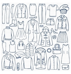 Hand drawn doodle set with woman clothes vector image vector image