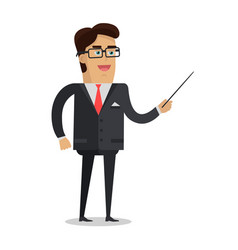 Man with pointer flat design vector