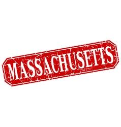 Massachusetts red square grunge retro style sign vector