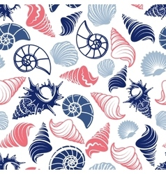 Ocean seamless pattern with sea shells vector