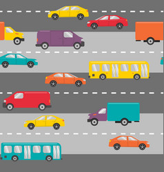 seamless pattern with cars on the road vector image vector image