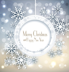 shiny holiday background with snowflakes and frame vector image