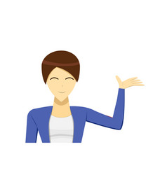 short hair business woman presenting vector image vector image