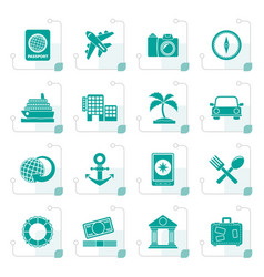 stylized tourism and travel icons vector image vector image