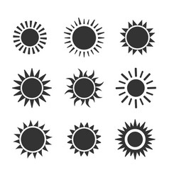 sun flat icon set on white background vector image
