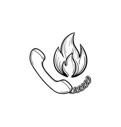 Telephone handset and fire hand drawn sketch icon vector