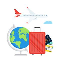 Travel planning passport airplane ticket world map vector
