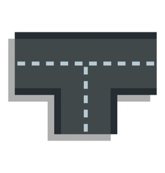 Tshaped crossroad icon flat style vector