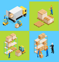 warehouse isometric compositions vector image vector image