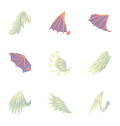 wings of dragon and griffin icons set vector image