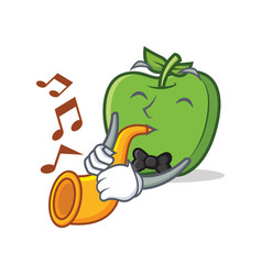 With trumpet green apple character cartoon vector
