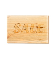 Wooden board with sale text isolated over white vector image