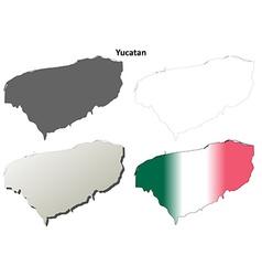 Yucatan blank outline map set vector