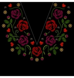 Neck line embroidery with roses flowers vector image