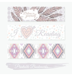 Printable bookmarks with feathers aztec pattern vector image