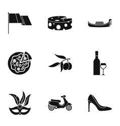 Attractions of italy icons set simple style vector