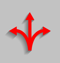 three-way direction arrow sign  red icon vector image
