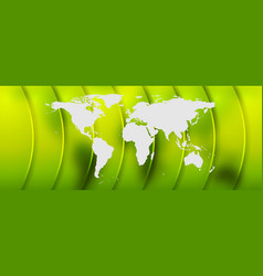 Bright green abstract background with world map vector