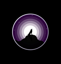 Wolf silhouette howling to the full moon vector
