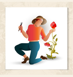 Gardener with garden shears vector