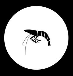 black shrimp or prawn sea food simple icon vector image