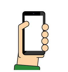 Hand holding mobile vector