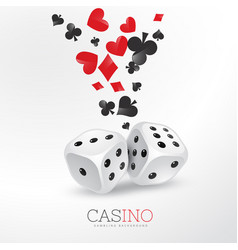 Poker card elements with two dices vector