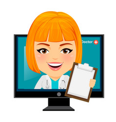 Medical doctor woman appears from monitor funny vector