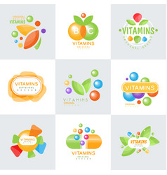 Vitamins logo set of colorful vector
