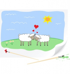 Love sheep vector