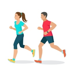 Running man and woman vector