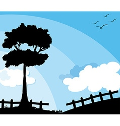 Silhouette nature scene with tree vector