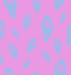 Ice cream cones seamless pattern vector