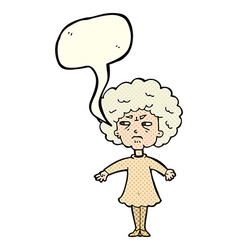 Cartoon bitter old woman with speech bubble vector