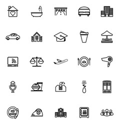 Hospitality business line icons on white vector
