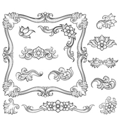 Vintage floral engraving decor elements vector