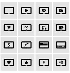 black tablet icon set vector image
