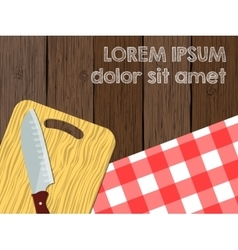 Kitchen logo blank knife on cutting board the vector