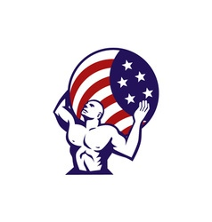 Atlas carrying globe usa flag retro vector