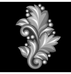 Baroque ornamental antique silver element on black vector