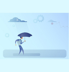 Business man hold umbrella stand rain protection vector