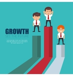 Businessmen standing financial bar growth vector
